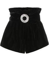 Miu Miu Verzierte Shorts aus Samt - Schwarz