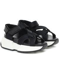 MM6 by Maison Martin Margiela Leather Platform Sandals - Black