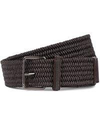 Brunello Cucinelli - Cintura in misto lino e pelle con monili - Lyst