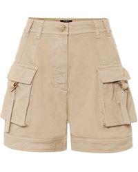 Balmain High-rise Cotton-blend Cargo Shorts - Natural