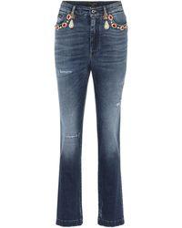 Dolce & Gabbana Jean droit à taille haute et ornements - Bleu