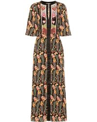 Temperley London Rosy Floral Satin Midi Dress - Black