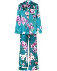 Olivia Von Halle Bedrucktes Pyjama-Set Lila aus Seidensatin - Grün