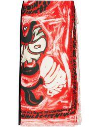 Marni Jupe midi portefeuille imprimée en chanvre mélangé - Rouge