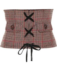 Miu Miu Checked Wool-blend Corset Belt - Multicolour
