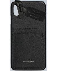 Saint Laurent Leather Iphone Xs Max Case - Black