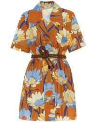 Fendi Robe chemise imprimée en coton - Orange