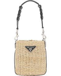 Prada Leather-trimmed Raffia Bucket Bag - Multicolour