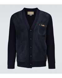 Gucci Cárdigan de lana con Horsebit - Azul