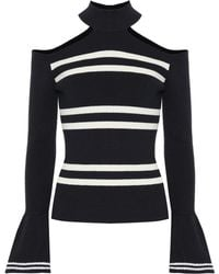 Self-Portrait Striped Cotton And Wool Jumper - Blue