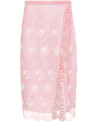 Burberry Floral-embroidered Tulle Skirt - Pink