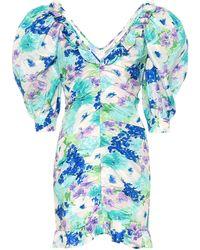 Alessandra Rich Floral Silk Minidress - Blue