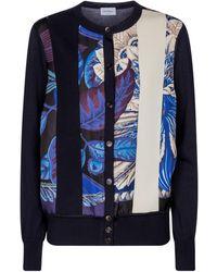 Ferragamo Virgin Wool And Silk Cardigan - Blue