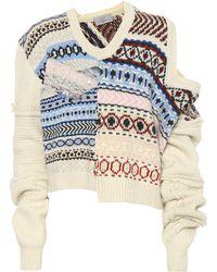 Preen By Thornton Bregazzi - Kyra Patchwork Wool Sweater - Lyst