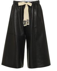 Loewe Wide-leg Leather Shorts - Black