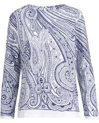 Etro Bedrucktes Top aus Baumwoll-Jersey - Weiß