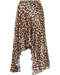 Caroline Constas Exclusive To Mytheresa – Leopard-print Silk-satin Midi Skirt - Brown