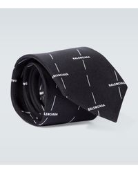 Balenciaga Logo Printed Silk Tie - Black