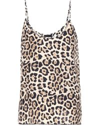 ATM - Leopard Printed Silk Top - Lyst