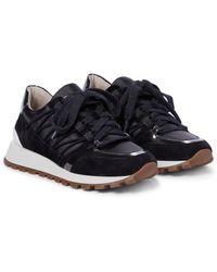 Brunello Cucinelli Sneakers aus Leder und Veloursleder - Schwarz
