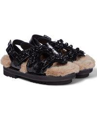 Simone Rocha Embellished Leather Sandals - Black
