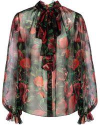 Dolce & Gabbana Exklusiv bei Mytheresa – Bedruckte Schluppenbluse - Mehrfarbig
