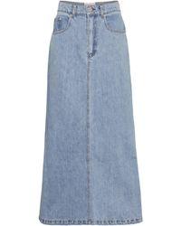 Nanushka Claudia High-rise Denim Midi Skirt - Blue