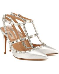 Valentino Rockstud Leather Court Shoes - Metallic