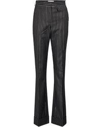 Victoria Beckham Pinstripe Wool-blend Pants - Black
