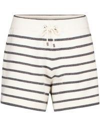 Brunello Cucinelli Striped Wool, Cashmere And Silk Shorts - White
