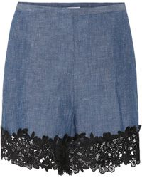 See By Chloé - Lace-trimmed Chambray Shorts - Lyst