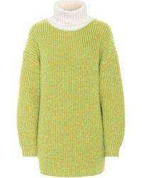 Tibi Tweedy Wool Oversized Jumper - Green
