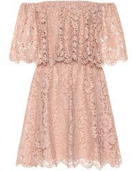 Valentino Off-Shoulder-Kleid aus Spitze - Pink