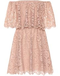 Valentino Floral Lace Minidress - Pink