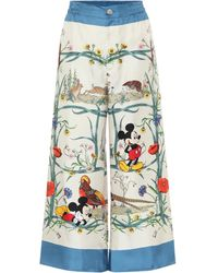 Gucci Mickey Mouse Printed Silk-twill Trousers - Blue