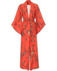 Johanna Ortiz Kimono Soul Quest en lin à fleurs - Rouge