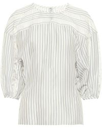 Chloé Lace-trimmed Striped Silk Blouse - Natural