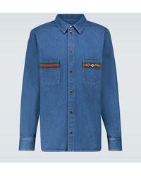 Gucci Chemise en jean lavé à la pierre avec bande Web - Bleu