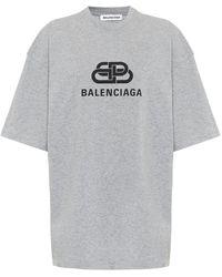 Balenciaga T-shirt oversize in cotone con logo - Grigio