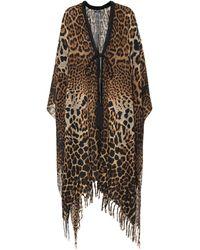 Saint Laurent Leopard-print Silk Kaftan - Brown