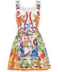 Dolce & Gabbana - Sleeveless Printed Cotton Dress - Lyst