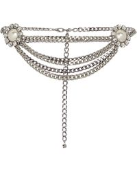 Alessandra Rich Crystal-embellished Chain Belt - Metallic