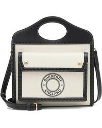 Burberry Mini Logo Graphic Canvas and Leather Pocket Bag - Noir