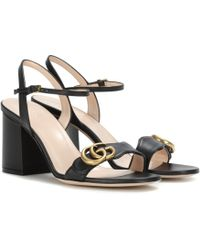 Gucci - Marmont Leather Sandals - Lyst
