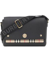 Burberry Sac à bandoulière Note en cuir Vintage check - Noir
