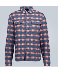 RRL Checked Cotton Overshirt - Blue