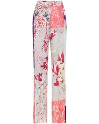 Etro High-rise Straight Floral Trousers - Pink