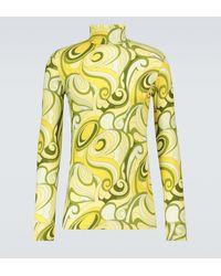 Raf Simons Camiseta de cuello alto estampada - Amarillo