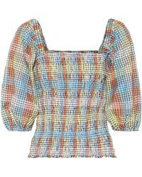 Ganni - Checked Cotton-blend Top - Lyst