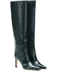 Jimmy Choo Mavis Tall Snake-embossed Leather Boots - Green